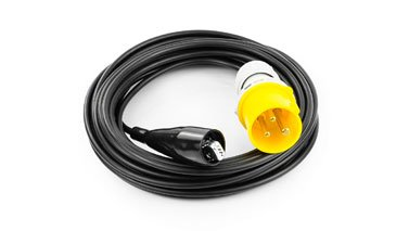 Black measuring cable, 3m, with industrial plugs, 2 pcs