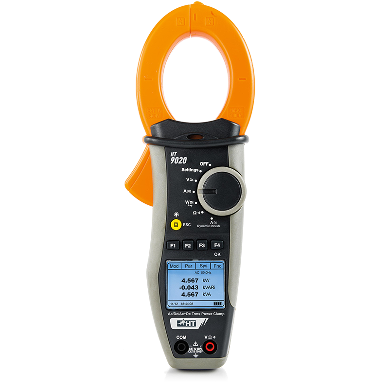 Clamp meter with measurement of powers/harmonics and inrush currents